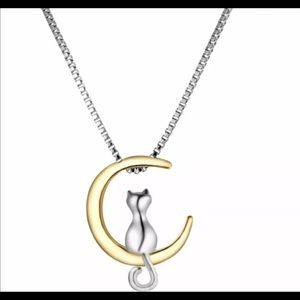 Lovely Animal Silver Cat Gold Moon Charm Necklace